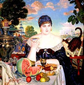 Купчиха за чаем, 1918 год художник Б. Кустодиев