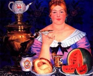 Купчиха, пьющая чай, Б. Кустодиев