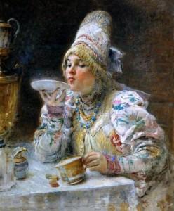 молодая купчиха, пьющая чай