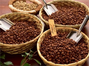 кофейные зёрна в корзинах