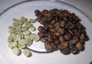 зелёные и обжаренные зёрна кофе
