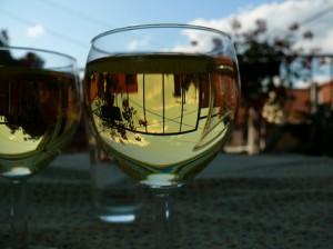белое вино в бокале